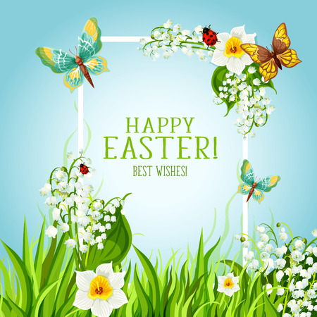 flower banner: Happy Easter Day greeting card. Sunny spring grass meadow with floral frame, decorated by flowers of lily and narcissus, butterflies and green leaves. Easter Joy spring holiday poster design