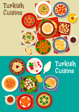 vegetarian cuisine: Turkish cuisine icon with meat soups, meatballs, vegetarian salads with feta, carrot ball, bulgur pilaf, nut baklava, fried cake, cereal dessert with bean, sweet chicken pudding with coffee