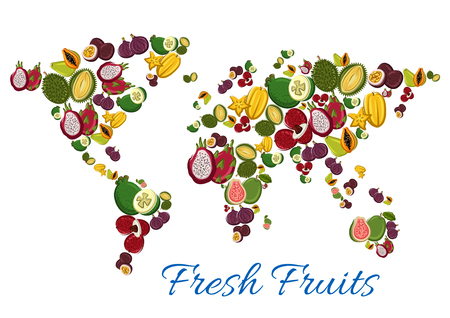 Exotic fruits world map. Poster with vector juicy tropical papaya and guava, maracuya and figs, mangosteen with fresh durian. Harvest of passion fruit maracuya, carambola and feijoa, lychee and dragon fruit, rambutan and longan