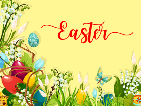 Easter egg on green grass cartoon greeting card. Colored Easter eggs on grass with blooming spring flowers and lily of the valley inflorescence, willow twig and butterfly. Easter holiday themes design Reklamní fotografie - 72874219