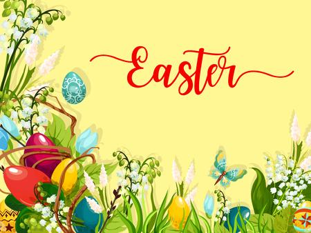 Huevo de Pascua en la hierba verde tarjeta de felicitación de dibujos animados Huevos de Pascua coloridos en hierba con las flores florecientes de la primavera y el lirio de la inflorescencia del valle, la ramita del sauce y la mariposa. Diseño de temas de vacaciones de Pascua