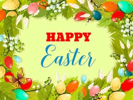 coloured background: Easter holiday spring flower background. Coloured Easter egg, lily and tulip flowers, grapevine and willow twig arranged into round frame with wishes of Happy Easter in center for greeting card design