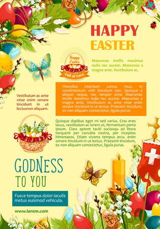 Happy Easter greetings poster template. Coloured Easter eggs and spring flowers in egg hunt basket, candle and cross with text layouts, decorated by floral wreath and flying butterflies