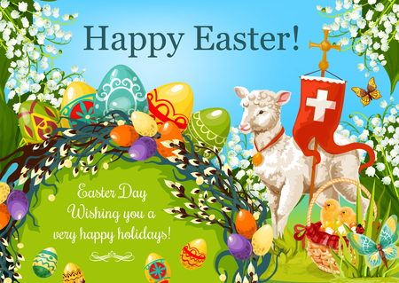 Easter Day cartoon greeting poster. Patterned Easter eggs, egg hunt basket with chickens, lily flowers, lamb of God, cross, floral Easter wreath of willow twigs with wishing of Happy Spring Holidays Illustration