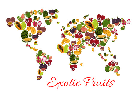 tropical drink: Exotic fruit world map poster with papaya, passion fruit, feijoa, dragon fruit, carambola, lychee, durian, fig and guava. Tropical fruit continents for healthy vegetarian food and drink design