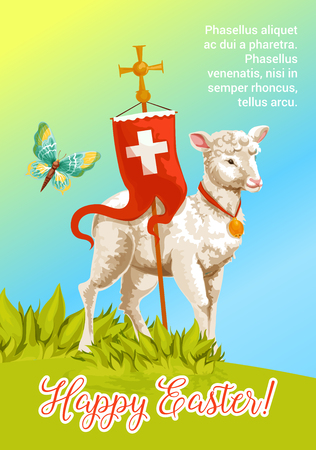 Easter lamb cartoon greeting card. White lamb of God with cross and red flag stands on sunny grass meadow. Happy Easter festive poster, Joyful Spring Holidays banner design