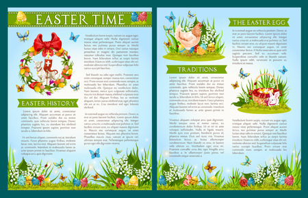 Easter Egg Hunt celebration, traditions and history brochure template. Easter eggs in green grass with flower, rabbit bunny, chicken, chick, wicker basket, Easter lamb, cross, floral wreath and candle Illustration