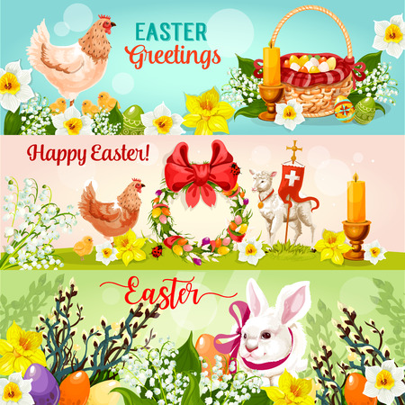 Happy Easter greetings banner set. Easter rabbit bunny with egg hunt basket, chicken, chick, spring flowers, lamb of God with cross, floral wreath with Easter eggs and ribbon bow, candle and willow tree Illustration