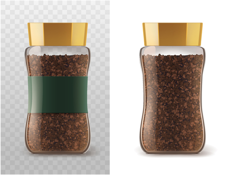 granules: Coffee glass jar with instant coffee granules icons. Vector container package with brown lid and ribbon sticker isolated on white and transparent background for product packaging template Illustration