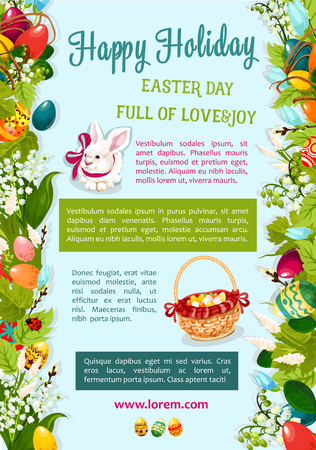 Easter Day, Happy Holiday greeting poster template. Easter egg hunt rabbit bunny with wicker basket and text layouts, flanked by rows of spring flowers, coloured eggs, green leaves and willow twigs