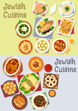 sorrel: Jewish cuisine kosher food icon with fish and chicken dishes, chickpea falafel, lamb, beef bean stew, meat dumpling, lentil, sorrel soup, liver pate, radish salad, beef roast, poppy cookie Illustration