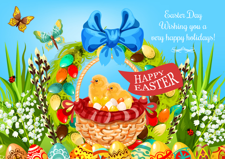 green butterfly: Easter egg hunt basket with chickens greeting card. Yellow chicks with coloured eggs in wicker basket, adorned with ribbon, bow, lily flower, floral Easter wreath, green grass, butterfly, willow twigs Illustration