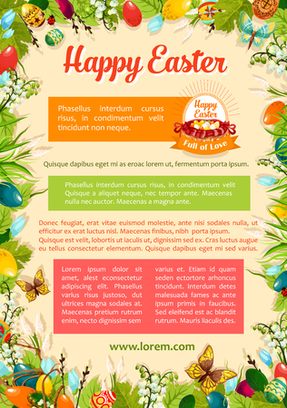 Happy Easter poster template with floral frame. Egg hunt basket with Easter eggs cartoon banner, supplemented with text layouts and spring flowers, green grass, leaf and willow tree twigs Illustration