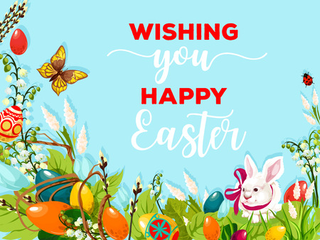 Easter egg hunt rabbit poster. White bunny and Easter eggs on grass meadow with spring flowers of lily and snowdrop, green leaf and willow tree branches. Easter holiday cartoon greeting card design Çizim
