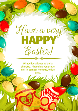 Easter egg festive poster. Decorated Easter eggs with folk ornaments, green grass and leaves twined into floral wreath with wishes of Happy Easter in center. Spring holidays, Egg hunt themes design Çizim