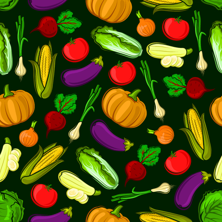 leek: Vector icons of vegetables in seamless pattern. Vegetarian fresh ripe of pumpkin, eggplant, napa cabbage, zucchini, leek, corn, tomato, beet, onion. Kitchen decoration background