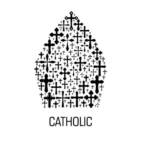 Emblema religioso catolico Icono del vector del sombrero del inglete del papa del Vaticano hecho del patrón cruzado del crucifijo del cristianismo. Etiqueta de catolicismo para elemento de diseño de decoración religiosa católica Foto de archivo - 72874358