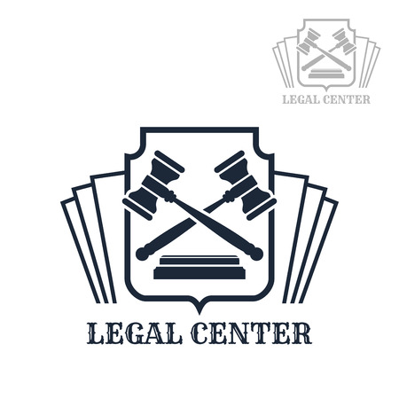 Advocacy or lawyer legal center vector icon with symbols of law code and judge gavels on heraldic shield. Emblem or sign for juridical company or advocate or justice attorney office, counsel and notary