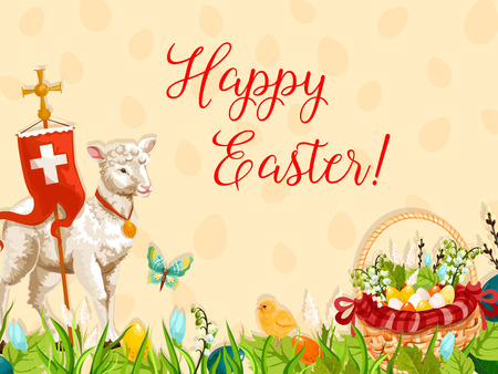 Easter lamb of God with cross greeting poster. Easter sheep, chicken chick and basket with Easter eggs, spring flowers and willow tree branches on green grass meadow with flying butterflies