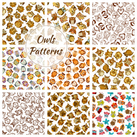 Owl seamless pattern background set. Wild forest bird of prey with brown, grey and yellow feathers. Wildlife, scrapbook page backdrop design