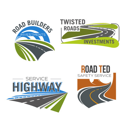 Road, highway, freeway and mountain pass isolated symbol set. Asphalt auto highway winding through green field and mountain valley for transportation services, road safety and building design