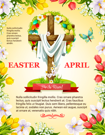 Easter poster for he is risen of crucifix cross and Christ shroud, paschal eggs and wreath of spring flowers. April Resurrection Sunday religious holiday greeting. Vector snowdrops, valley lily and butterflies