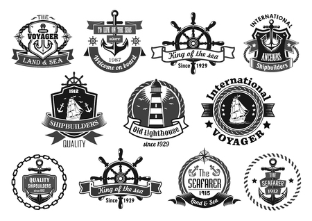 yacht: Nautical heraldic emblem set. Marine anchor, helm, sailing ship, compass and lighthouse, framed by rope, chain and shield with ribbon banner and star. Sailor and yacht club badge, symbol design