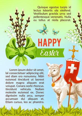 Happy Easter greeting poster of willow switches bow, crucifix cross symbol on flag and passover lamb. Vector paschal card template for catholic or orthodox resurrection sunday religious church holiday Illustration