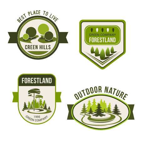 garden plant: Nature, park, garden square and forest symbol set. Green nature landscape badges with decorative tree and plant, evergreen pine and fir. Public park, outdoor activity, ecology emblem design