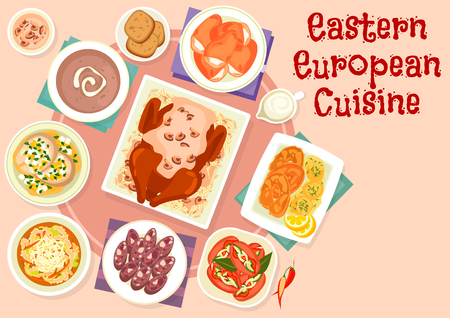 Eastern european cuisine festive dishes icon of sausages stuffed with pickles, fried and boiled fish, beef tripe soup, baked duck with mushroom sauce, rye bread soup, pork head cheese, bun with cheese 向量圖像