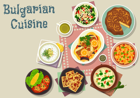 Bulgarian cuisine traditional cheese pie icon served with vegetable salad with cheese and olive, tomato bean soup, cold yogurt cucumber soup, bean soup, vegetable stew with fish, meatball with rice Illustration