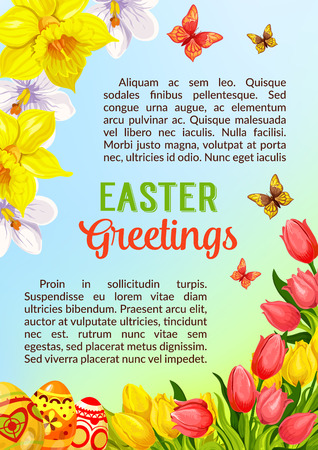 pascha: Easter greetings poster or card template with paschal painted eggs and springtime holiday flowers. Vector tulips or narcissus and butterflies. Catholic or orthodox spring holiday card