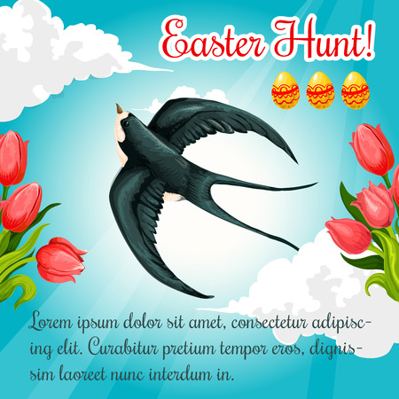 pascha: Easter Hunt greeting poster or card template with swallow bird in blue sky, paschal eggs and springtime holiday tulip flowers. Vector catholic or orthodox Resurrection Sunday spring holiday card Illustration