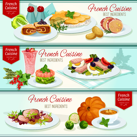 cream cheese: French cuisine restaurant dinner dishes banner set. Cheese potato casserole, tuna salad with tomato, olive, salmon tartare, cabbage with meat, duck salad, pumpkin soup, liver pate, fruit cream dessert Illustration