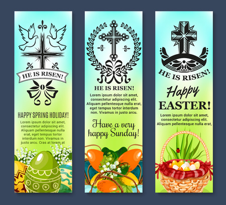 risen: Happy Easter banners of paschal eggs in wicker basket, crucifix cross and he is risen set. Vector symbols of holiday floral wreath bows, lily snowdrops spring flowers and doves or swallows