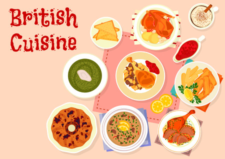 sorrel: British cuisine traditional dinner menu icon of baked turkey with cranberry sauce, fried fish and potato, baked rabbit, duck with mint sauce, beef kidney soup, raisins cake, sorrel cream soup