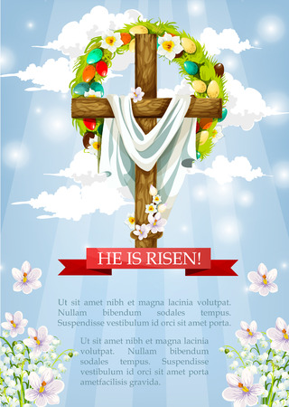 risen: Crucifix or Easter cross with Christ shroud. He is risen heaven sky paschal poster template with egg and flower wreath and red ribbon. April Resurrection Sunday religious holiday vector greeting card
