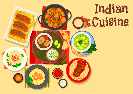 Indian cuisine chicken and fish curry icon served with rice, tomato sauce chutney on flatbread, spinach cheese soup, baked fish, cream dessert with fruits, chilli and potato stew Illustration