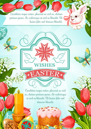Easter greeting poster of paschal eggs and cake or kulich paska, bunny and candles for resurrection sunday invitation or greeting card template. Vector symbols of springtime tulip flowers and april snowdrops Illustration