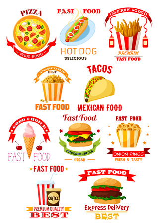 fast meal: Fast food restaurant and takeaway lunch meal symbol set. Burger, hamburger, pizza, coffee and soda drinks, hot dog, cheeseburger, french fries, taco, ice cream, popcorn and onion rings emblems design