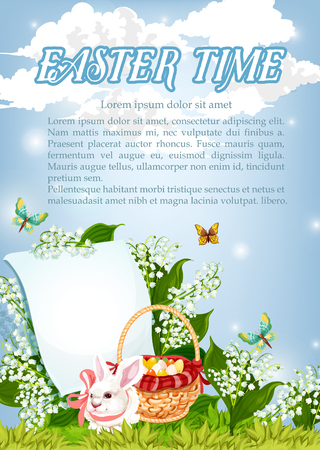 Easter Time poster of paschal bunny and eggs in wicker basket. Vector greeting card blank template for wishes. Springtime flowers of valley lily and butterflies for Resurrection Sunday holiday