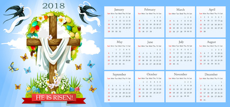 he: Easter template for 2018 calendar. He is risen poster of crucifix cross and Christ shroud, painted paschal eggs wreath and spring flowers. Vector snowdrops, doves or swallows and butterflies Illustration