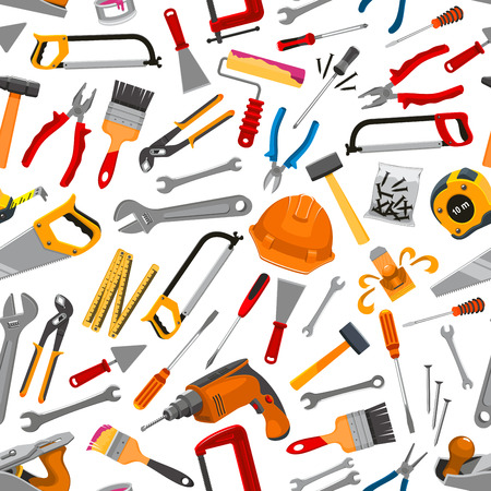 equipment work: Working tool, instrument and equipment for construction and repair work seamless pattern. Hammer, screwdriver, wrench, pliers, saw, ruler, drill, brush, roller, spanner, trowel, spatula for DIY design