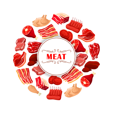 Fresh meat cuts symbol. Beef steak, pork chops, ham, bacon, tenderloin and belly, lamb ribs, chicken, turkey and burger patty placed around badge with text Meat. Butcher shop and food packaging design