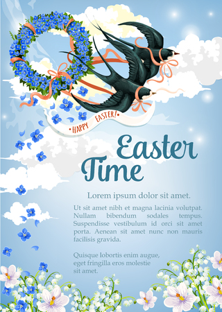 Easter Time greeting poster or card template with swallow birds carrying floral wreath of spring flowers in blue sky. Vector Resurrection Sunday or religious happy springtime holiday design