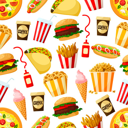 Fast food restaurant lunch seamless pattern background. Hamburger, pizza, hot dog, soda and coffee cups, cheeseburger, french fries, taco, ice cream cone, popcorn and onion rings. Fast food design