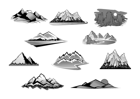 Mountain landscape isolated icon set. Mountain range, snowy peak, rocky hill and tower rocks sign with pine forest, road and river. Nature, tourism, outdoor adventure, climbing and hiking theme design