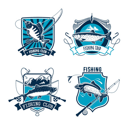 ricreazione: Fishing sport club heraldic badge set. Salmon, carp and perch fish with fishing rod, net and hook on shield with ribbon banner. Fishing sport, fishery, outdoor recreation themes design