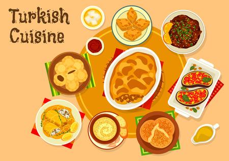 Turkish cuisine meat dishes with dessert icon of beef eggplant casserole moussaka, flatbread with garlic nut sauce, beef in orange sauce, vegetable stew, cabbage roll, nut dessert baklava, fig cookie Illustration