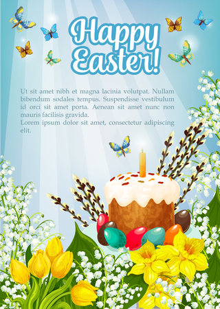 Happy Easter poster of willow, paschal cake or eggs and spring flowers. Greeting card template and vector kulich paska symbol with candle, tulips, snowdrops and butterfly on lily bunch Çizim